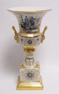 Casa Padrino Barock Porzellan Vase mit 2 Griffen H. 34, 5 cm - Antik Stil