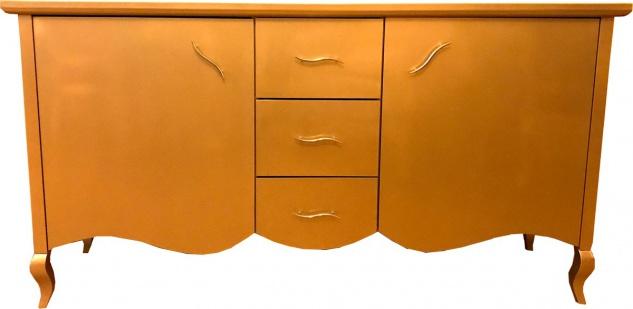 Casa Padrino Barock Kommode mit 2 Türen und 3 Schubladen Gold 160 x 45 x H. 87 cm - Modernes Barock Sideboard - Barock Wohnzimmermöbel