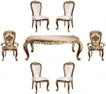 Casa Padrino Luxus Barock Esszimmer Set Weiß / Gold / Braun / Gold - 1 Esszimmertisch & 6 Esszimmerstühle - Edle Esszimmer Möbel im Barockstil - Edel & Prunkvoll