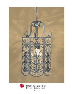 Orientalische Designer Pendelleuchte mit Kristall-Deco Antik Silber ModP4 Leuchte Lampe aus dem Hause Casa Padrino - Deckenleuchte Hängeleuchte Barock