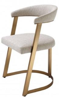 Casa Padrino Designer Stuhl mit Armlehnen Naturfarben / Messingfarben 53, 5 x 49 x H. 78 cm - Esszimmerstuhl - Bürostuhl - Designermöbel