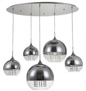 Casa Padrino Hängeleuchte Silber Ø 91 x H. 95 cm - Hängelampe mit runden Lampenschirmen und feinsten Kristall Behängen - Vorschau 1