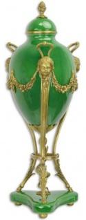Casa Padrino Barock Deko Vase Grün / Messingfarben Ø 23 x H. 58, 4 cm - Prunkvolle Porzellan Blumenvase mit Deckel und Bronze Verzierungen - Deko Accessoires im Barockstil