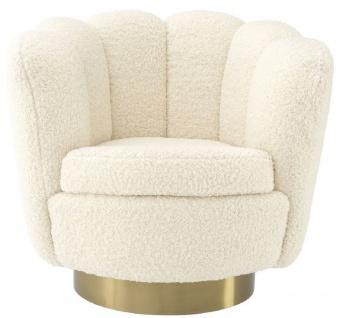 Casa Padrino Luxus Drehsessel Weiß / Messingfarben 95 x 83 x H. 83 cm - Wohnzimmer Sessel mit künstlichem Lammfell - Luxus Möbel - Vorschau 3