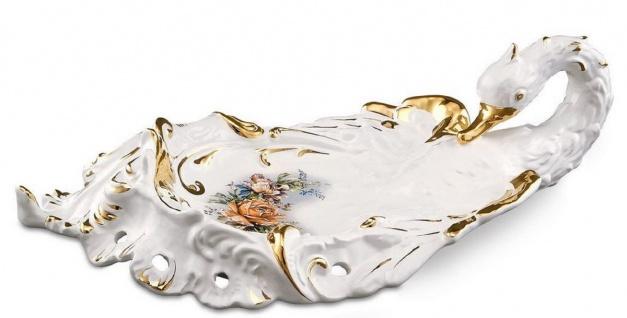 Casa Padrino Barock Serviertablett Schwan mit Blumen Weiß / Gold / Mehrfarbig 54 x 30 x H. 16 cm - Handbemaltes Keramik Tablett im Barockstil