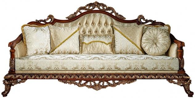 Casa Padrino Luxus Barock Sofa Gold / Braun / Bronze 245 x 92 x H. 127 cm - Wohnzimmer Sofa mit elegantem Muster und dekorativen Kissen - Edle Barock Möbel