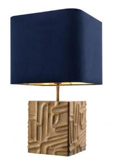 Casa Padrino Luxus Tischleuchte Vintage Messingfarben / Blau 35 x 35 x H. 62 cm - Designer Lampe