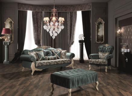 Casa Padrino Luxus Barock Wohnzimmer Set Grün / Creme / Beige - 2 Sofas & 2 Sessel & 1 Couchtisch - Wohnzimmer Möbel im Barockstil - Edel & Prunkvoll - Vorschau 5