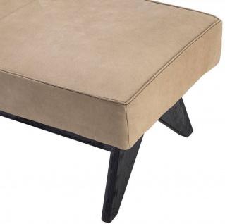 Casa Padrino Luxus Echtleder Bank Beige / Schwarz 164 x 54 x H. 44 cm - Gepolsterte Massivholz Sitzbank mit edlem Nubuk Büffelleder - Luxus Möbel - Vorschau 4