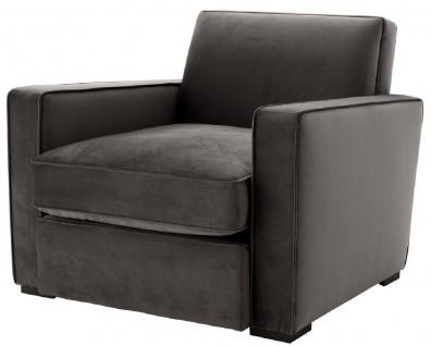 Casa Padrino Luxus Samt Sessel Grau / Schwarz 95 x 103, 5 x H. 82 cm - Edler Wohnzimmer Sessel - Luxus Qualität
