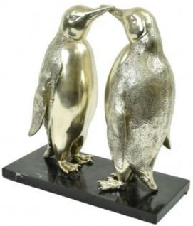 Casa Padrino Luxus Bronze Skulptur Pinguin Paar Silber / Schwarz 39 x 18 x H. 42 cm - Versilberte Bronzefiguren mit Marmorsockel