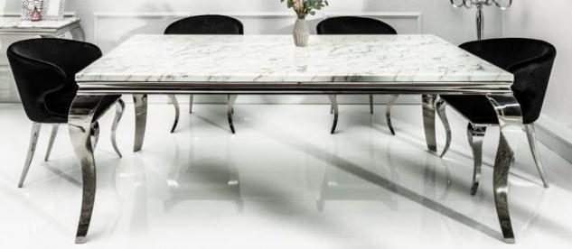 Casa Padrino Designer Esszimmer Set Schwarz / Silber / Weiss - Esstisch 200 cm + 6 Stühle - Modern Barock - Vorschau 2