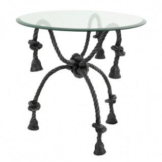 Casa Padrino Luxus Beistelltisch Metall / Glas Tauseil Optik - Glas Tisch