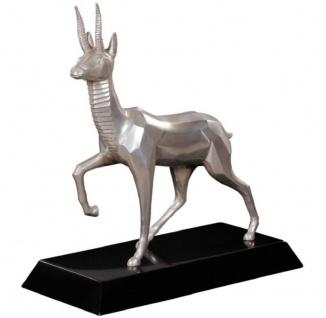 Casa Padrino Luxus Bronzefigur Antilope Silber / Schwarz 35 x 17 x H. 37 cm - Dekofigur mit Holzsockel