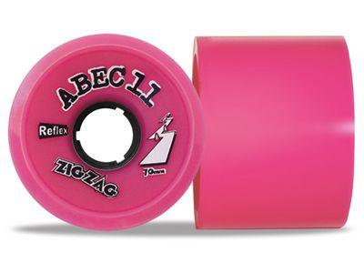 ABEC 11 Reflex ZigZags Pink 77A 70mm Longboard Rollen Set (4 Rollen) - Longboard Wheels