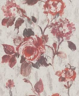 Casa Padrino Barock Vliestapete Grau / Rot 10, 05 x 0, 53 m - Tapete mit Blumenmuster - Deko Accessoires