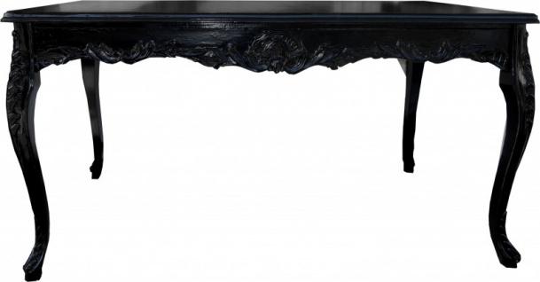 Casa Padrino Barock Esstisch Schwarz mit Glasplatte - Esszimmer Tisch - alle Grössen