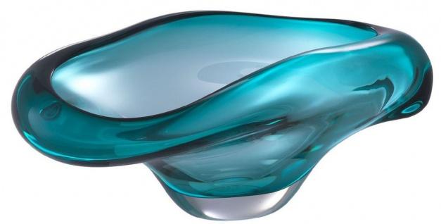 Casa Padrino Luxus Glasschale Türkis 22 x 14 x H. 10, 5 cm - Designer Deko Schale - Obstschale aus mundgeblasenem Glas