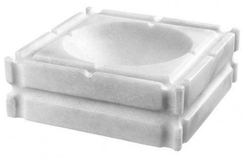 Casa Padrino Designer Marmor Aschenbecher Weiß 21 x 21 x H. 7 cm - Limited Edition