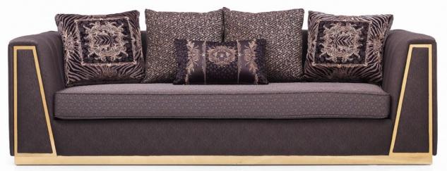 Casa Padrino Luxus Wohnzimmer Sofa mit dekorativen Kissen Lila / Gold 240 x 92 x H. 78 cm - Luxus Wohnzimmer Möbel