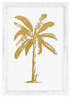 Casa Padrino Luxus Deko Bild Palme Gold / Antik Weiß 87, 5 x H. 122, 5 cm - Luxus Kunstdruck mit Bilderrahmen
