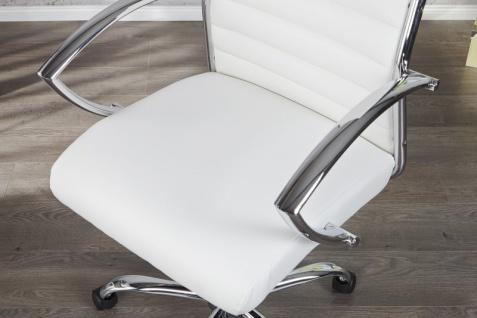 Casa Padrino Bürosessel Drehsessel Drehstuhl Bürostuhl Bürosessel Weiß / Chrom - Modern Line - Vorschau 4