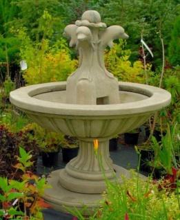 Casa Padrino Jugendstil Gartenbrunnen Grau Ø 130 x H. 145 cm - Runder Springbrunnen mit dekorativen Delfinen - Gartendeko