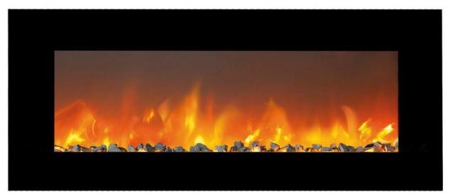 Casa Padrino Luxus LED Elektrokamin Schwarz 127 x 14 x H. 46, 5 cm - Moderner breiter Wandkamin mit Touchscreen & Fernbedienung