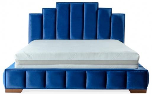 Casa Padrino Luxus Doppelbett Blau / Braun - Verschiedene Größen - Modernes Bett mit Matratze - Schlafzimmer Möbel