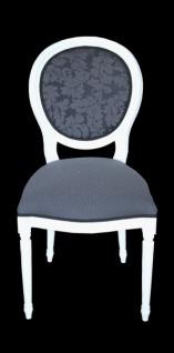 Casa Padrino Barock Esszimmer Stuhl ohne Armlehne Grau / Weiß - Designer Stuhl - Luxus Qualität