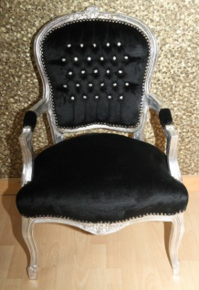 Casa Padrino Barock Salon Stuhl Schwarz / Silber mit Bling Bling Glitzersteinen