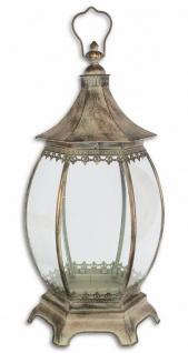 Casa Padrino Jugendstil Laterne / Kerzenleuchter Antik Messingfarben 30 x 26, 5 x H. 61 cm - Deko Accessoires