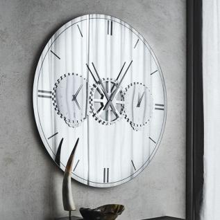 Casa Padrino Luxus Wandspiegel / Wanduhr Silber Ø 120 cm - Elegante runde verspiegelte Wanduhr - Wohnzimmer Möbel - Luxus Qualität