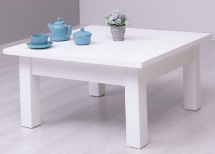 Casa Padrino Landhausstil Couchtisch Weiß 90 x 90 x H. 45 cm - Massivholz Wohnzimmertisch - Wohnzimmermöbel im Landhausstil