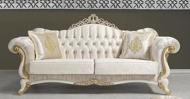 Casa Padrino Barock Wohnzimmer Sofa mit Glitzersteinen Champagnerfarben / Creme / Gold 224 x 83 x H. 112 cm - Wohnzimmer Möbel - Edel & Prunkvoll