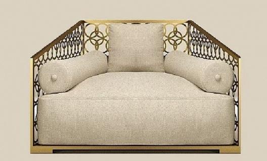Casa Padrino Luxus Sessel Elfenbeinfarben / Champagner-Gold 135 x 109 cm - Handgefertigter Sessel mit Kissen - Wohnzimmer Sessel - Garten Sessel - Terrassen Sessel - Hotel Möbel - Luxus Qualität