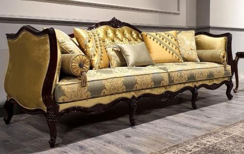 Casa Padrino Luxus Barock Sofa Gold / Silber / Schwarz - Prunkvolles Wohnzimmer Sofa mit elegantem Muster - Barock Möbel