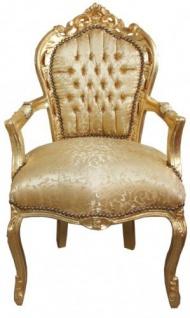Casa Padrino Barock Esszimmer Stuhl Gold Blumen Muster / Gold mit Armlehnen