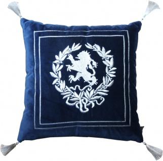 Casa Padrino Luxus Deko Kissen Wappen Dunkelblau / Silber mit Troddeln 45 x 45 cm - Feinster Samtstoff - Luxus Wohndeko