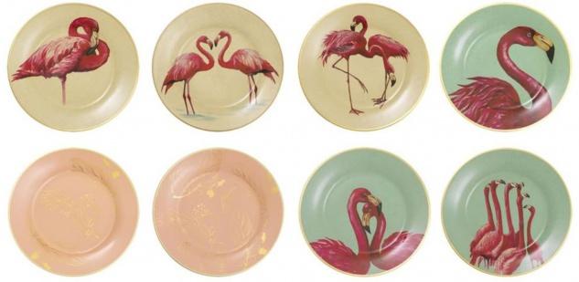 Casa Padrino Deko Porzellan Wandteller 8er Set Flamingos & Federn Mehrfarbig / Gold Ø 27 cm - Luxus Wanddeko