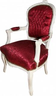 Casa Padrino Barock Salon Stuhl Bordeaux Rot Muster / Antik Weiss - Stühle Möbel - Vorschau 2