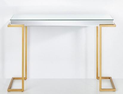 Casa Padrino Luxus Konsole Bronzefarben 116 x 39 x H. 79 cm - Verspiegelter Konsolentisch mit Metallbeinen - Luxus Möbel