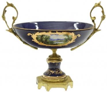 Casa Padrino Barock Keramik Vasen Set mit Schale Dunkelblau / Mehrfarbig / Gold - Prunkvolle Deko Accessoires im Barockstil - Vorschau 3