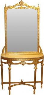 Casa Padrino Barock Spiegelkonsole Gold mit Marmorplatte und mit schönen Barock Verzierungen auf dem Spiegelglas Mod5 - Antik Look