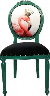 Casa Padrino Barock Luxus Esszimmer Stuhl ohne Armlehnen Flamingo mit Krone mit Bling Bling Glitzersteinen - Designer Stuhl - Limited Edition