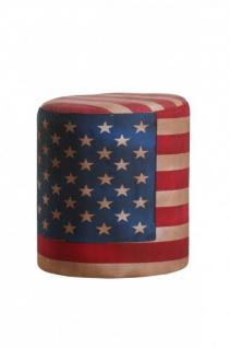 USA Design Sitzhocker Mod3 - Amerikanische Flagge - Rundhocker Amerika