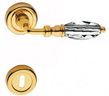 Casa Padrino Luxus Türklinken Set Gold 13 x H. 5 cm - Messing Türgriffe mit Swarovski Kristallglas