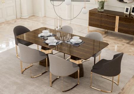 Casa Padrino Luxus Esszimmer Set - 1 Esszimmertisch & 6 Esszimmerstühle - Küchen Möbel - Esszimmer Möbel - Luxus Qualität