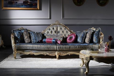 Casa Padrino Luxus Barock Chesterfield Sofa Dunkelblau / Antik Gold 300 x 90 x H. 119 cm - Prunkvolles Barock Wohnzimmer Sofa - Barockmöbel