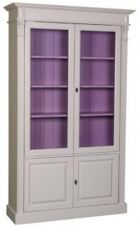 Casa Padrino Landhausstil Bücherschrank Hellgrau / Lila 119 x 39 x H. 197 cm - Wohnzimmerschrank mit 4 Türen - Massivholz Schrank - Vitrinenschrank - Landhausstil Wohnzimmermöbel
